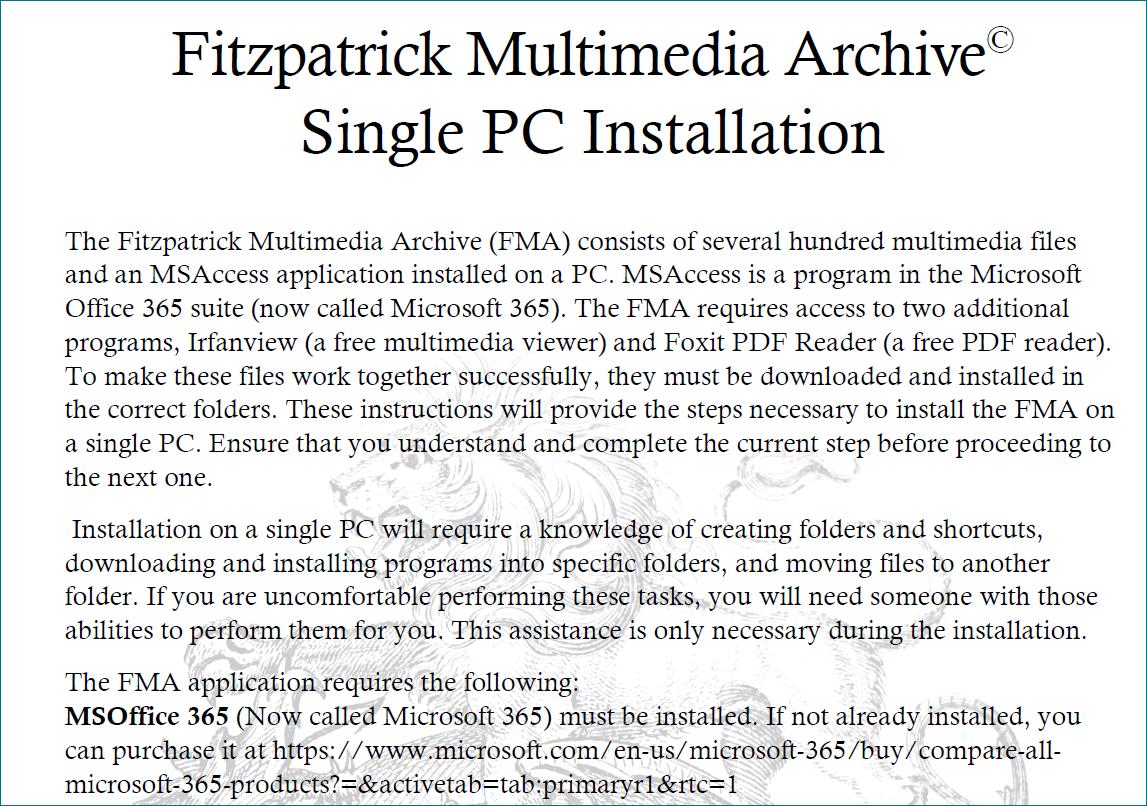 Click to open FMA Single PC Installation