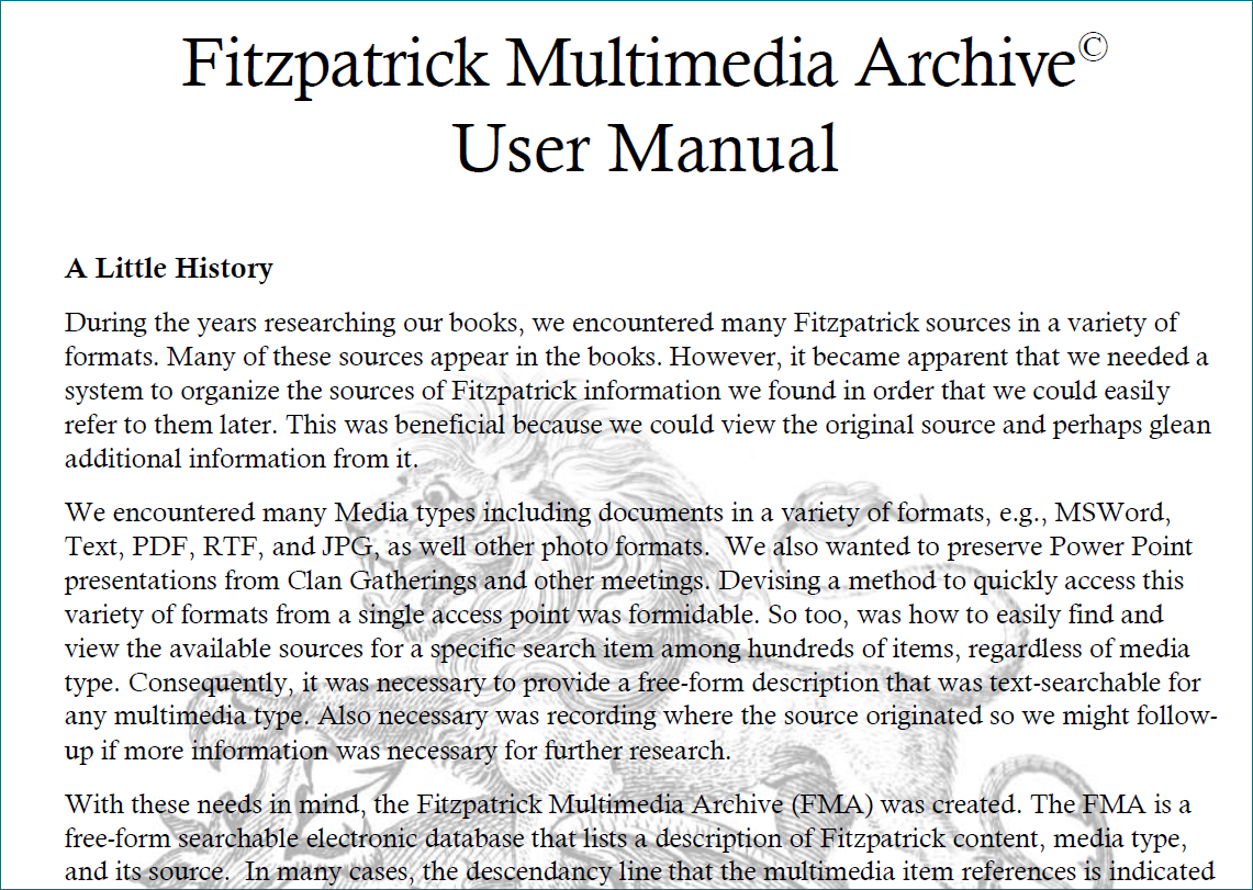 Click to open FMA User Manual